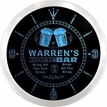 ncp1138-b WARREN'S Home Bar Beer Pub LED Neon Sign Wall Clock Uhr Leuchtuhr/ Leuchtende Wanduhr