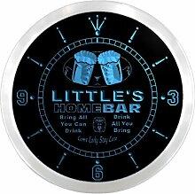 ncp1226-b LITTLE'S Home Bar Beer Pub LED Neon Sign Wall Clock Uhr Leuchtuhr/ Leuchtende Wanduhr