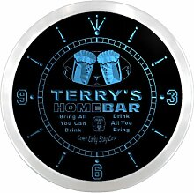 ncp1265-b TERRY'S Home Bar Beer Pub LED Neon Sign Wall Clock Uhr Leuchtuhr/ Leuchtende Wanduhr