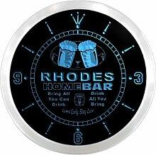 ncp1297-b RHODES Home Bar Beer Pub LED Neon Sign Wall Clock Uhr Leuchtuhr/ Leuchtende Wanduhr