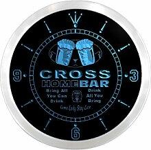 ncp1349-b CROSS Home Bar Beer Pub LED Neon Sign Wall Clock Uhr Leuchtuhr/ Leuchtende Wanduhr