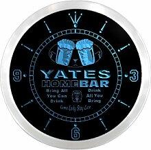 ncp1388-b YATES Home Bar Beer Pub LED Neon Sign Wall Clock Uhr Leuchtuhr/ Leuchtende Wanduhr