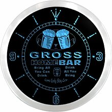 ncp1416-b GROSS Home Bar Beer Pub LED Neon Sign Wall Clock Uhr Leuchtuhr/ Leuchtende Wanduhr