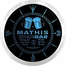 ncp1483-b MATHIS Home Bar Beer Pub LED Neon Sign Wall Clock Uhr Leuchtuhr/ Leuchtende Wanduhr