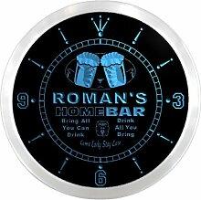 ncp1515-b ROMAN'S Home Bar Beer Pub LED Neon Sign Wall Clock Uhr Leuchtuhr/ Leuchtende Wanduhr