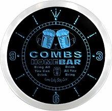 ncp1543-b COMBS Home Bar Beer Pub LED Neon Sign Wall Clock Uhr Leuchtuhr/ Leuchtende Wanduhr