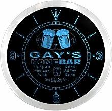ncp1774-b GAY'S Home Bar Beer Pub LED Neon Sign Wall Clock Uhr Leuchtuhr/ Leuchtende Wanduhr