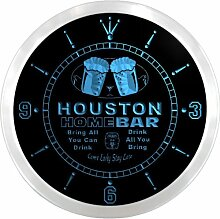 ncp2054-b HOUSTON Home Bar Beer Pub LED Neon Sign Wall Clock Uhr Leuchtuhr/ Leuchtende Wanduhr