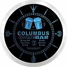 ncp2065-b COLUMBUS Home Bar Beer Pub LED Neon Sign Wall Clock Uhr Leuchtuhr/ Leuchtende Wanduhr