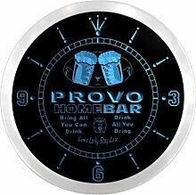 ncp2281-b PROVO Home Bar Beer Pub LED Neon Sign Wall Clock Uhr Leuchtuhr/ Leuchtende Wanduhr