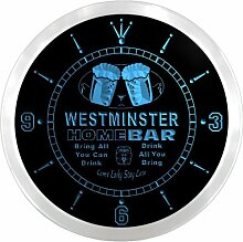 ncp2301-b WESTMINSTER Home Bar Beer Pub LED Neon Sign Wall Clock Uhr Leuchtuhr/ Leuchtende Wanduhr