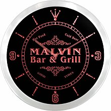 ncu28062-r MALVIN Family Name Bar & Grill Cold Beer Neon Sign LED Wall Clock Leuchtende Wanduhr