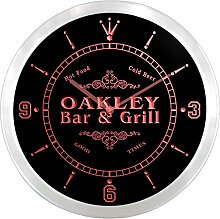 ncu32935-r OAKLEY Family Name Bar & Grill Cold Beer Neon Sign LED Wall Clock Leuchtende Wanduhr