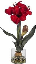 Nearly Natural 4827 Amaryllis mit runder Vase, ro