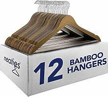 Neaties Walnuss Bambus Holz Kleiderbügel w/Kerben