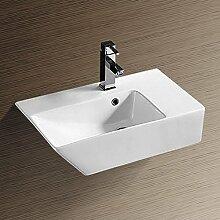 NEG Waschbecken Uno27H (groß/eckig/Armatur rechts) Hänge-Waschschale/Waschtisch (weiß) mit hohem Rand und Nano-Beschichtung