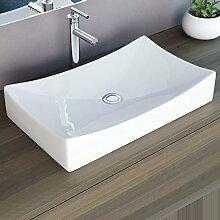 NEG Waschbecken Uno92A (eckig), Aufsatz-Waschschale/Waschtisch mit geschwungenem Rand und Nano-Beschichtung