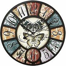 Neilyn American Village Loft Retro Industriellen Stil Wanduhr Kreative Antike Cafe Bar Bekleidungsgeschäft Dekoration Wanduhren Uhren Durchmesser 39/58 cm (Color : V12, Größe : M)