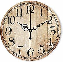 Neilyn Kreative Retro Nachahmung Holzmaserung Mute 3D Wanduhr Europäischen Landhausstil Wohnzimmer Schlafzimmer Dekoration Römische Ziffer Uhr Antike Rahmenlose Geräuschlose Wanduhren ( Color : V016 , Größe : L )