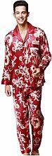 NEIYI Herren Pyjama-Sets Langarm-Kragen-Anzug +