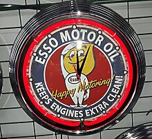 NEON CLOCK AGED ESSO MOTOR OIL GARAGE SIGN RED