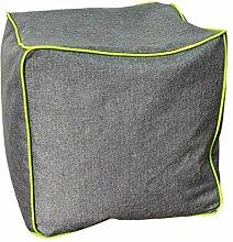 NeonPipe - Sitzsack - Hocker / Cube in Anthrazit/Apfelgrün- Leinen-Optik Sitzwürfel mit ca. 40 x 40 x 40 cm
