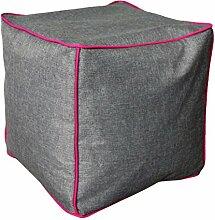 NeonPipe - Sitzsack - Hocker / Cube in Anthrazit/Magenta- Leinen-Optik Sitzwürfel mit ca. 40 x 40 x 40 cm