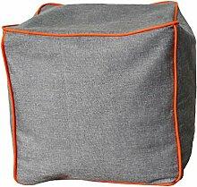 NeonPipe - Sitzsack - Hocker / Cube in Anthrazit/Terra- Leinen-Optik Sitzwürfel mit ca. 40 x 40 x 40 cm