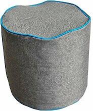 NeonPipe - Sitzsack - Hocker / Pouf, rund in Anthrazit/Türkis- Leinen-Optik Sitzzylinder mit ca. Ø 40 x 40 cm