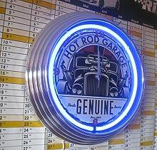 Neonuhr -Hot Rod Garage Neon Blau - Werkstatt