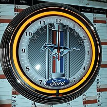 NEONUHR NEON CLOCK FORD MUSTANG RACING CARBON