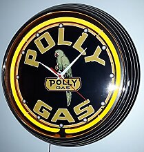 NEONUHR NEON CLOCK POLLY GAS SIGN WANDUHR