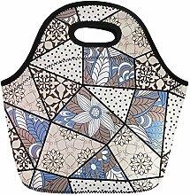 Neopren Lunchtasche,Teppich Patchwork Muster