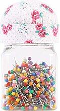 neoviva Kunststoff Vorratsdose Behälter mit Nadelkissen Deckel für Quilten Pins, 200Ball Kopf Pins enthalten Floral Fuchsia Rose