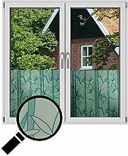 NEOXXIM - Sichtschutzfolie Fensterfolie statisch Meterware Bambus grün (SF21) 150x122 cm mattierte Klebefolie Fenster Bad Milchglas Glasfolie Ädhäsionsfolie