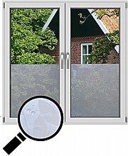 NEOXXIM - Sichtschutzfolie Fensterfolie statisch Meterware Blätter (SF42) 700x122 cm mattierte Klebefolie Fenster Bad Milchglas Glasfolie Ädhäsionsfolie