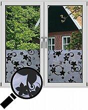 NEOXXIM - Sichtschutzfolie Fensterfolie statisch Meterware Blüten (SF23) 200x122 cm mattierte Klebefolie Fenster Bad Milchglas Glasfolie Ädhäsionsfolie