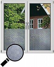 NEOXXIM - Sichtschutzfolie Fensterfolie statisch Meterware Karo (SF11) 75x122 cm mattierte Klebefolie Fenster Bad Milchglas Glasfolie Ädhäsionsfolie