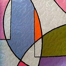 NEOXXIM - Sichtschutzfolie statisch Meterware Bunt Linien (SF108) 200x90 cm mattierte Klebefolie Fenster Bad Milchglas Glasfolie Ädhäsionsfolie