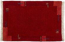 Nepali Indien ca. 90 x 60 cm · Rot · handgeknüpft · Schurwolle · Modern · hochwertiger Teppich · 15845