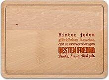NERDO - Hinter jedem glücklichen Menschen gibt es den besten Freund - Schneidebrett / Küchenbrett / Käsebrett / Holzbrett aus deutscher Buche (FSC-zertifiziert) als Geschenkidee für BFF / den Freund mit Gravur