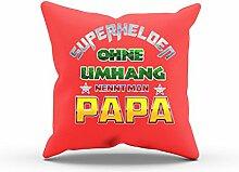 NERDO - Superhelden ohne Umhang nennt man Papa - FARBE: ROT OHNE FÜLLUNG - Dekokissen / Zierkissen / Sofakissen / Kissen als Geschenkidee - 40 cm x 40 cm