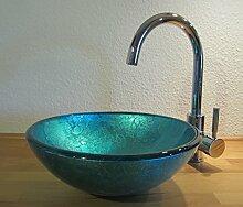 Nero Aufsatz Glas Waschbecken blau 31cm