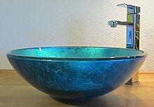 Nero Aufsatz Glas Waschbecken blau 42cm