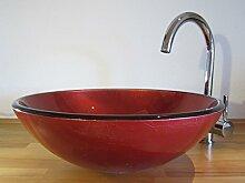Nero Aufsatz Glas Waschbecken rund rot 42cm