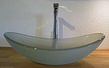 Nero Aufsatz Glas Waschbecken satiniert oval