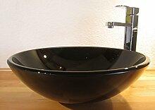 Nero Aufsatz Glas Waschbecken schwarz Glitzer 42cm