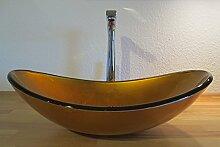 Nero Aufsatz Glas Waschbecken Sunshine gold oval