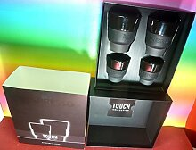 Nespresso 2 Touch Espresso Cups (80 ml) & 2 Touch Lungo Cups (170 ml) Black Porcelain & Soft-Touch Silicone , In Brand Box ,By Berlin Design studio Geckeler Michels,New