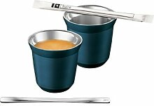 Nespresso Pixie Espresso Dharkan Metall Becher Tasse - blaugrün